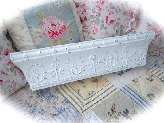 RESERVED For LINDA Shabby Ornate Pressed Tin Metal PEDIMENT Wall Shelf Romantic Cottage Chic