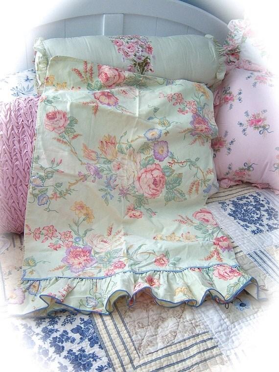 FALL Into SAVINGS SALE Shabby Lemongrass Pale Green Floral Cabbage Roses Rruffled Pillow Shams Set