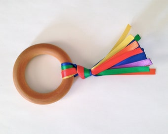 Natural Wood Teething Ring Toy w/ Rainbow ribbons (UNFINISHED)- Unisex Baby / Toddler Teether toys