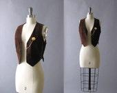 70s Vest, 1970s Suede Vest, Vintage Brown Vest, Pocket Watch Pin and Chain