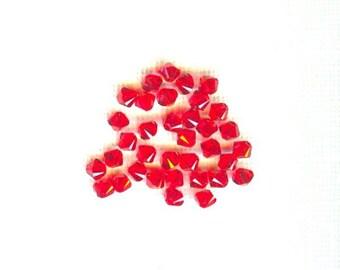 60 Pieces Swarovski Crystal Bicones Light Siam Ruby 4mm
