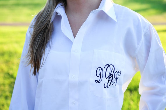 Bride/Bridesmaids Oversized Monogrammed Button Down Shirts