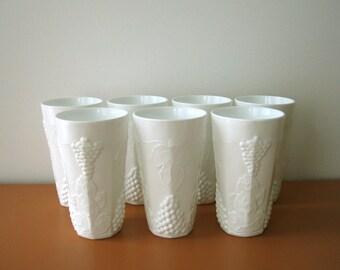 Vintage Milk Glass Tumblers, Floral Vases,Harvest Grape Pattern, Set of Seven