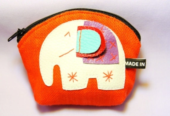 Orange  Elephant Coin Purse Thai handmade