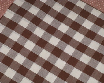 "Vintage Fabric Cotton Gingham Large Squares Cocoa Brown and White Plaid - 3/4 Yd. 36"" wide  Vintage 1950's Material"