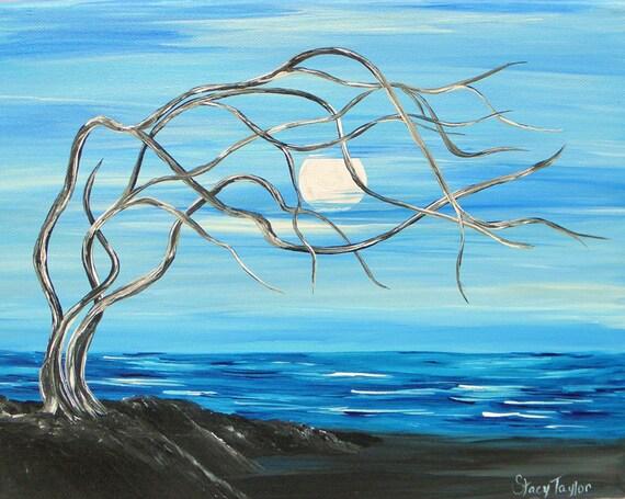 Moon Over the ocean, original painting, deadwood, surreal art, fine art, Blue Ocean, Beach boho