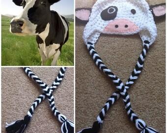 Crochet Cow Beanie/Hat