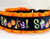 Halloween Dog Collar Spooky - Small Medium Large XL or XXL- Witch Hat Broom Pumpkins Trick or Treat Black Orange Ruffle Party