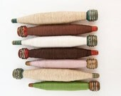 Wooden Textile Spools with Thread Set of 7 Industrial Rustic Display