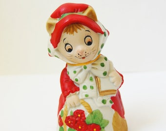 Vintage Lady Kitty  Bell Bisque Porcelain Jasco 1980 Collectible Red Green White