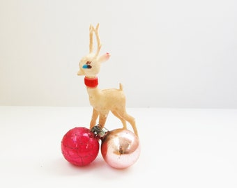 Pink Christmas Ornaments Vintage Poland Hand Blown Glass Gold Hand Painted Mica