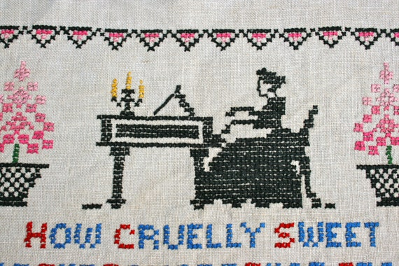 Vintage Cross Stitch Linen Sampler- An Old Tune On The Heart-Woman at Piano