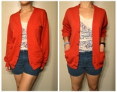 Vintage Bright Red Grandma Hipster Cardigan