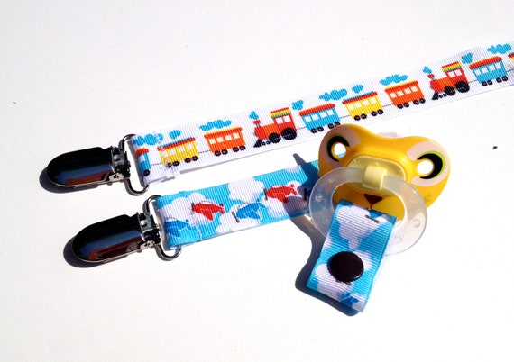 Airplane Train Pacifier Clip Set of 2 / Retro Transportation / Baby Boy Gift  / Grosgrain Ribbon / Binky Toy Leash