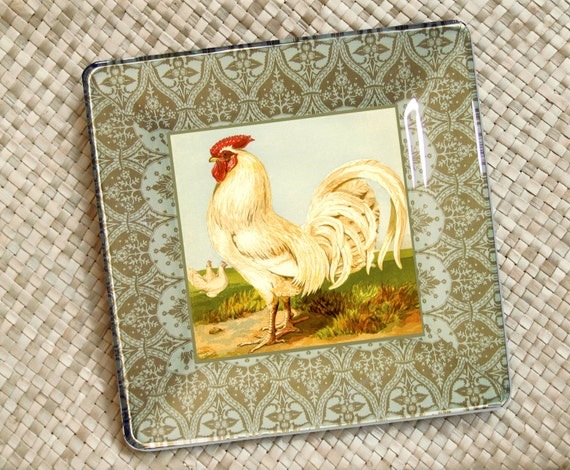Decorative Wall Plates For Hanging: Items Similar To Antique Rooster Decorative Plate For