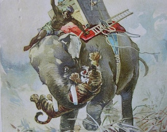 Antique McLaughlin's XXXX Coffee Advertising Card, A Tiger Hunt in Bengal, Victorian Trade