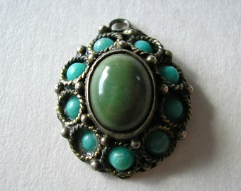 Vintage Stone and Sterling Silver Pendant, Made in Israel