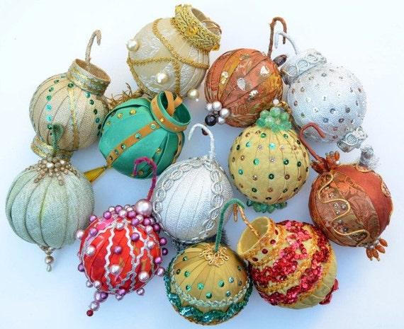 Handmade Vintage Fabric Christmas Ornaments, Set of 12