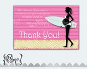 Pregnant Surfer Girl Baby Shower Thank You card with stripes CUSTOM COLORS