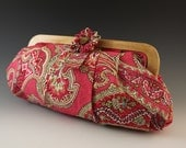 Liz Claiborne Paisley Skirt Clutch with Wooden  Frame
