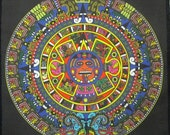 Printed Sew On Patch - LARGE AZTEC CALENDAR - Mayan - Back Patch Sized