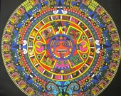 Printed Sew On Patch - MONSTER AZTEC CALENDAR - Mayan - Back Patch Sized