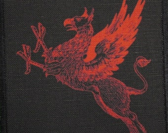 Printed Sew On Patch - RED and BLACK GRIFFIN - Vest, Bag, Backpack, Jacket