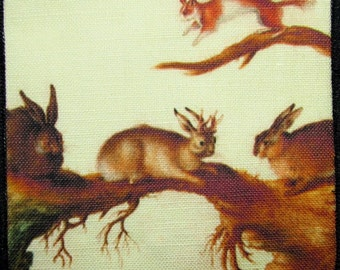 JACKALOPE AND RABBITS -  Printed Sew On Patch - Proof Positive that this creature exists -p315