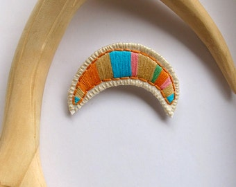 Southwestern jewelry embroidered brooch crescent pink lime blue tan salmon