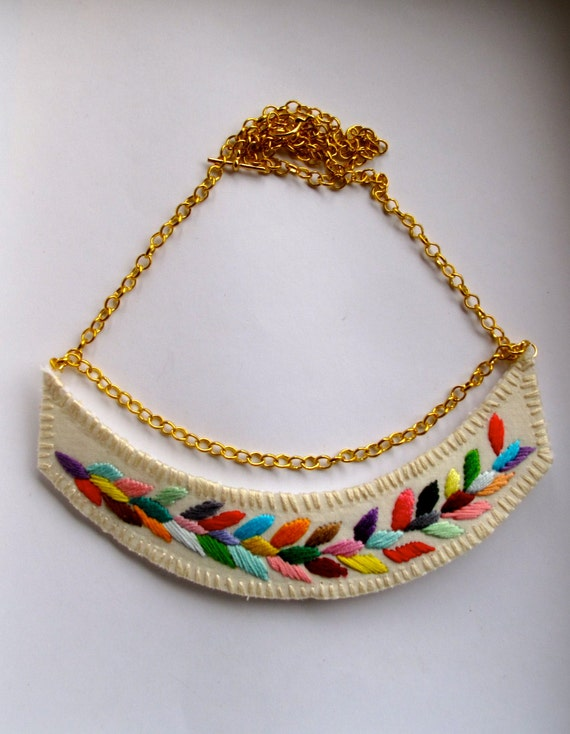 RESERVED Embroidered necklace multicolored laurel leaf design on a gold chain with toggle