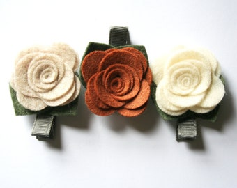 Flower Hair Clip - Felt Flower Hair Clip - Baby Hair Clips - Baby Hair Bows - Neutral Set