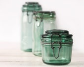 1 ORIGINAL Vintage Green french canning jar SOLIDEX  LARGE Size - RueDesLouves