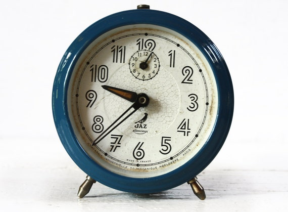 Beautiful vintage French BLUE Metal Alarm CLOCK