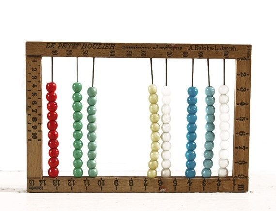 Lovely Vintage  little French wooden ABACUS