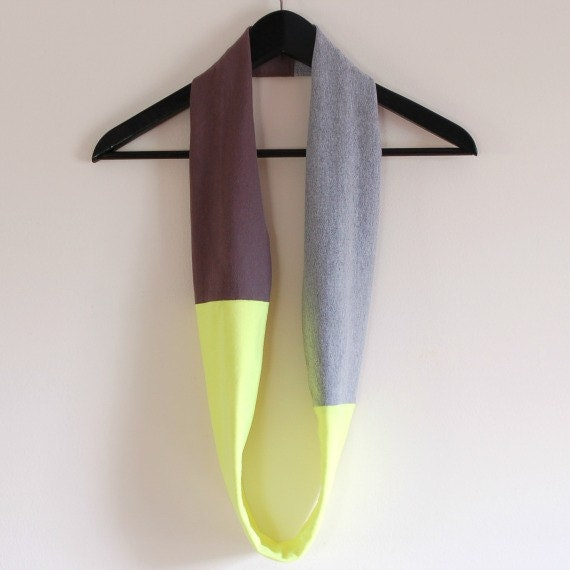 Color Block Neon Infinity Scarf - Womens Handmade Scarf Cowl - Cotton Jersey Tshirt Circle Scarf - By LimeGreenLemon