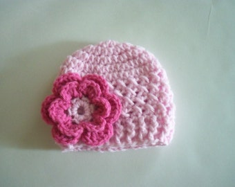 Baby Girl Hat, Crochet Newborn Hat, Beanie Hat with Flower, Pick you Color