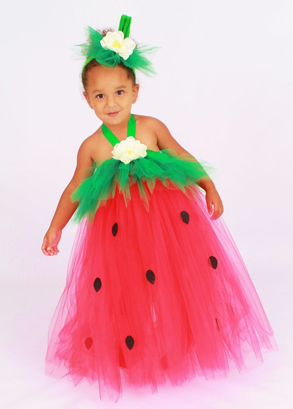 Tutu Dress - Strawberry Birthday or Halloween Costume - Red & Green - Berry Beauty -12 Month to 2 Toddler Girl