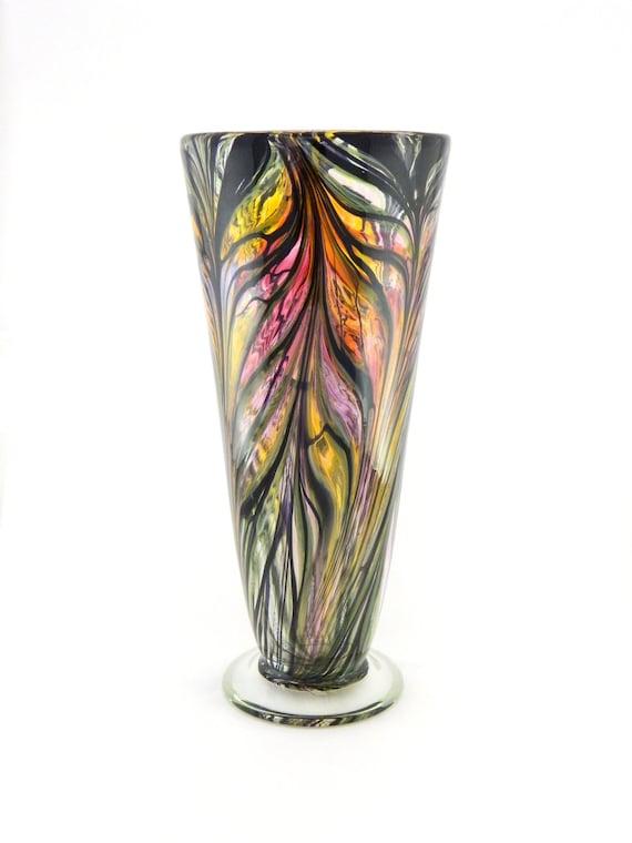 Hand Blown Art Glass Vase - Iridescent Amber, Purple, and Pink