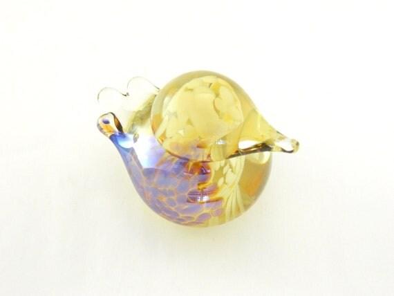 Art Glass Bird - Iridescent Amber and Beige