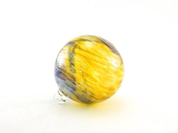 Hand Blown Art Glass Ornament - Iridescent Gold Amber and Dark Purple