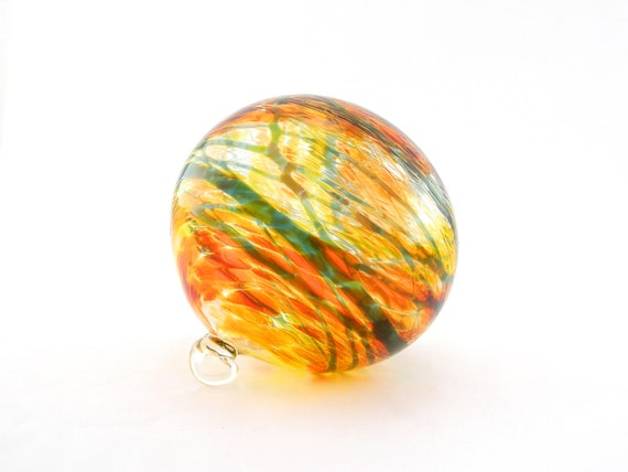 Hand Blown Art Glass Ornament - Bright Orange and Yellow with Green - Sun Catcher - Sunset - Tropical