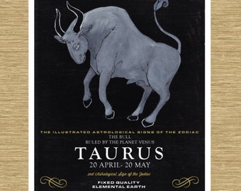 "Illustrated Zodiac Taurus the Bull 8"" x 10"""