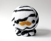 Zebra Octopus Plush with Mustache