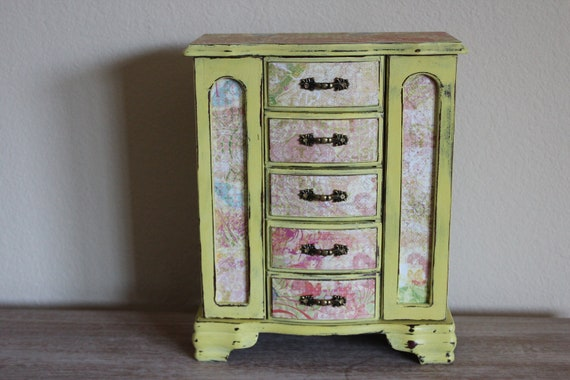 Upcycled  Distressed Creamy  Yellow Jewelry Box  Reserved for  Cathy