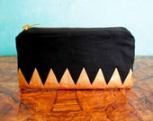 Black and Gold hand painted zipper pouch