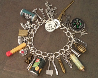 Zombie Plan Charm Bracelet For The Zombie Apocalypse... The ORIGINAL ZOMBIE PLAN Bracelet - Zombie Survival Kit Jewellery -