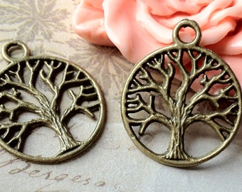 20 mm Antiqued Bronze Little Wish Tree Charm Pendants (.st)(sx)