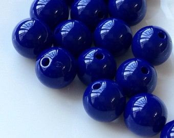 10 mm Opaque Dark Blue Color Round Shape Candy Acrylic Beads. (.ma)