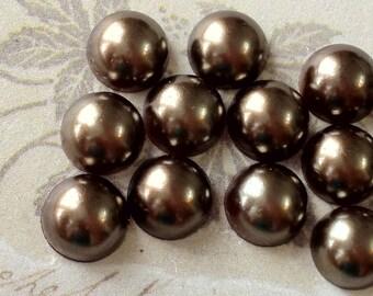 8 mm Coffee Color Flat Back Pearl Cabochons (.mmc)