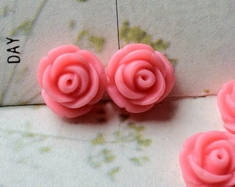11 mm Pink Rose Resin Flower Cabochons (.tc)